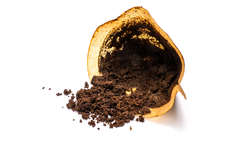 coffee grounds with filter bag isolated on white background