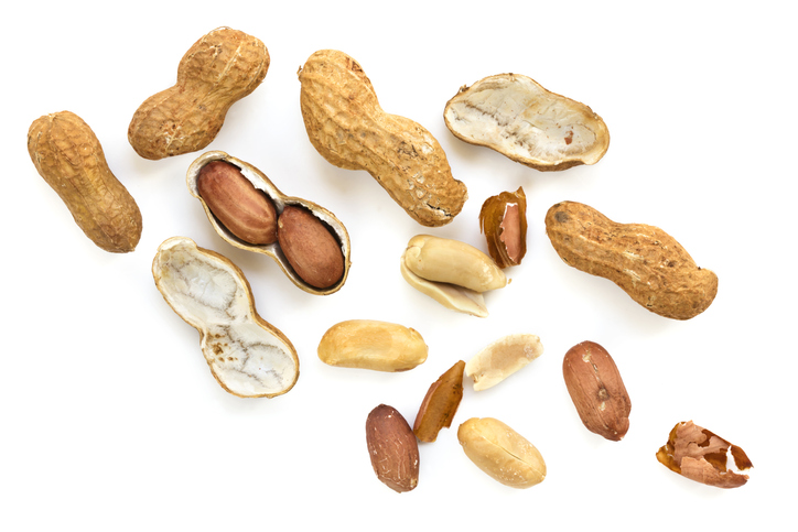 Roasted Raw Peanuts in Shell Top View isolated